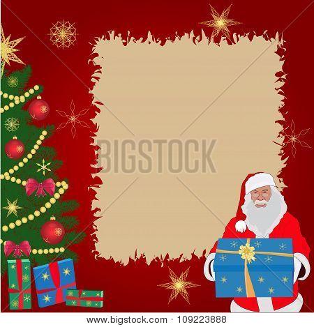Christmas greeting card, Santa, Christmas tree, vector illustration