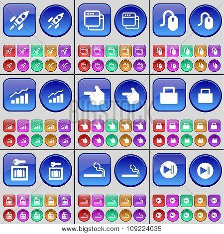 Rocket, Window, Mouse, Graph, Hand, Lock, Vault, Cigarette, Media Skip. A Large Set Of Multi-