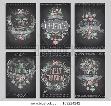 Set of Christmas cards - Chalkboard.