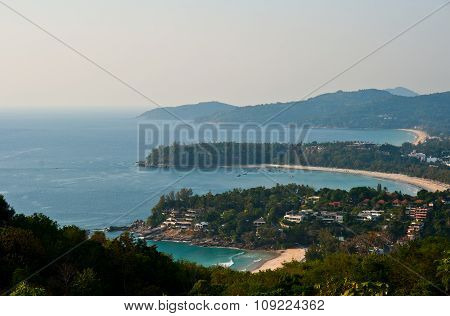 Tropical Beach Beautiful Landscape. Turquoise Ocean Boats And Sandy Coastline From High View Point.