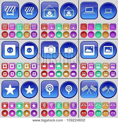 Barrier, Folder, Laptop, Socket, Camera, Window, Star, Lollipop, Colours. A Large Set Of Multi-