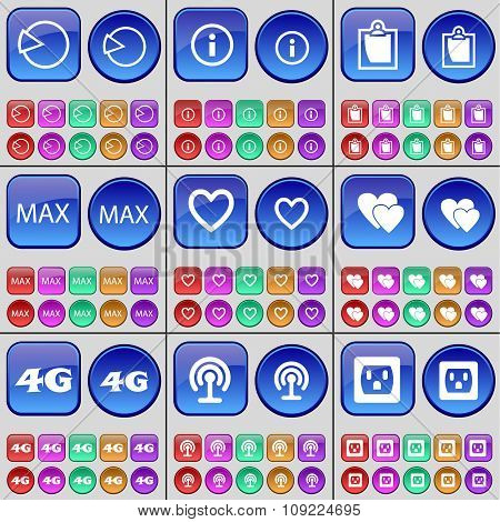 Diagram, Information, Survey, Max, Heart, 4G, Wi-fi, Socket. A Large Set Of Multi-colored Buttons.