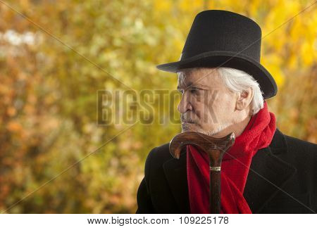 Autumn. Portrait of a senior man thinking about something