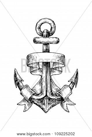 Sketch of retro nautical anchor with wavy banner