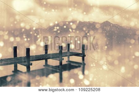 3D render of a landscape with jetty with bokeh light effect