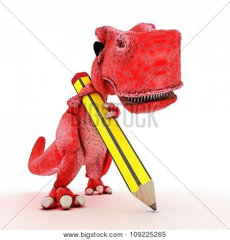 3DS Render of Friendly Cartoon Dinosaur