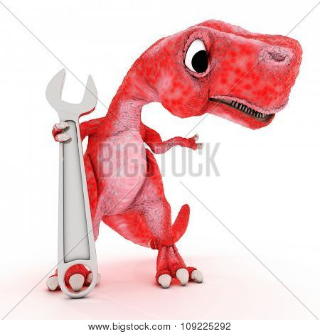 3DS Render of Friendly Cartoon Dinosaur with wrench