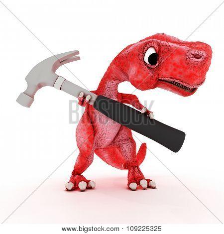 3DS Render of Friendly Cartoon Dinosaur with hammer