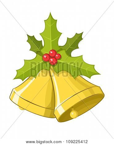 Vector Christmas bells with Holly berries, isolated on white background, eps10