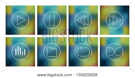 Vector set of icons for music player on abstract mesh background, eps10
