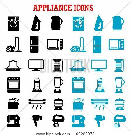 Home appliance and equipment flat icons
