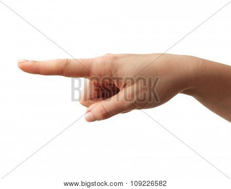 Closeup of woman hand pointing. Isolated on white background