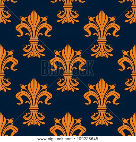 Orange and blue fleur-de-lis seamless pattern
