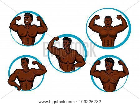 Cartoon posing bodybuilders and athletes
