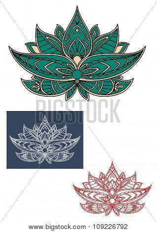 Green indian lotus flower with ornament