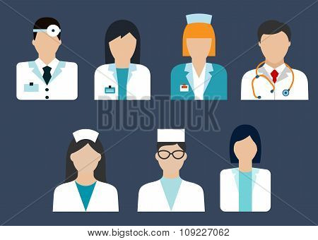 Doctors and nurses avatar flat icons