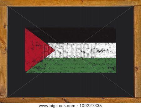 Palestine flag on a blackboard