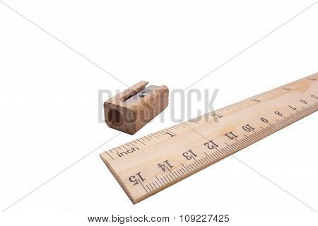 Wood Ruler And Wood Sharpened Pencil Isolated