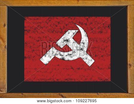 Communist flag on a blackboard