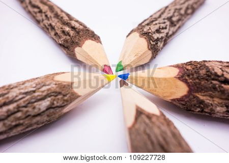 Colored Pencils Wooden Isolated (brainstorm Concept)