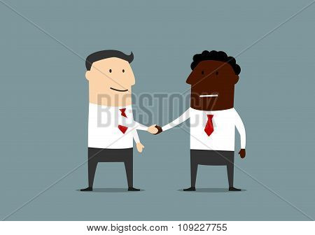 Handshake of businessmen from different countires