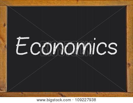 Economics written on a blackboard