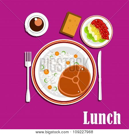 Healthy lunch dishes , salad and drink