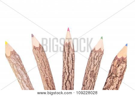 Colored Pencils Wooden Isolated