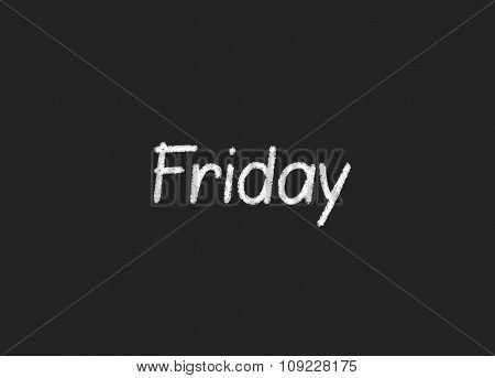 Friday written on a blackboard