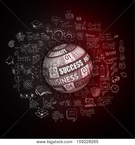 Success in Business conceptual background with a squared panel and a tex message over an infographics hand drawn doodle sketches background.