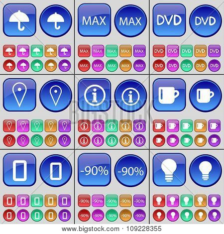 Umbrella, Max, Dvd, Checkpoint,  Information, Cup, Zero, Discount, Light Bulb. A Large Set Of