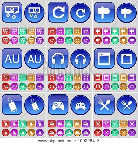 Currency, Reload, Sign, Au, Headphones, Window, Tag, Gamepad, Cutlery. A Large Set Of Multi-