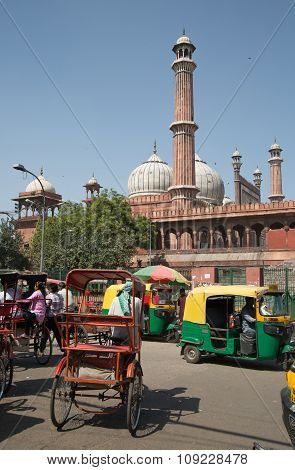 Traffic In Old Delhi, India