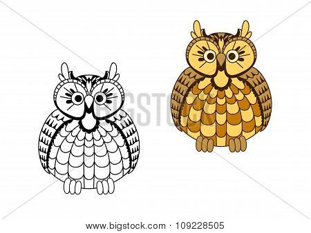Cartoon old wise eagle owl