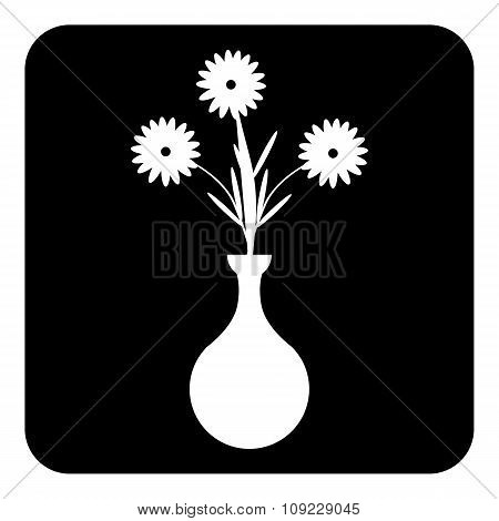 Vase With Flowers Icon On White.