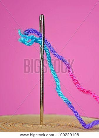 yarn in sewing needle