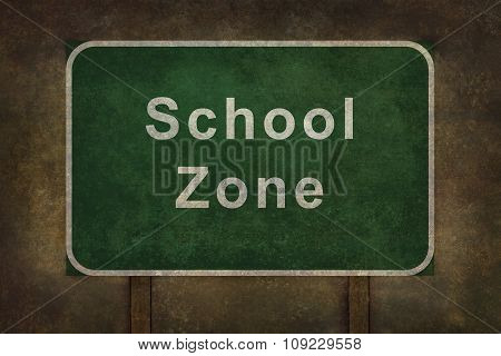 School Zone Roadside Sign Illustration