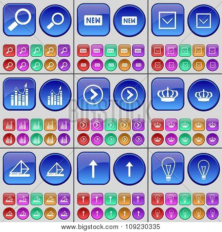 Magnifying Glass, New, Arrow Down, Graph, Arrow Right, Crown, Message, Arrow Up, Light Bulb. A