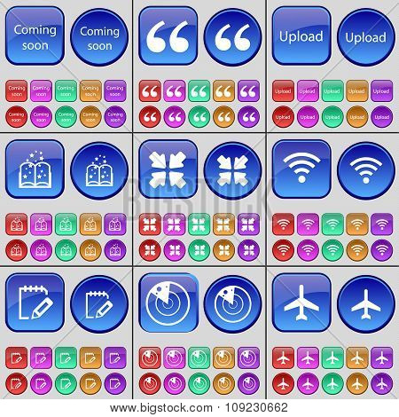 Coming Soon, Quotation Mark, Upload, Book, Deploying Screen, Wi-fi, Notebook, Radar, Airplane. A