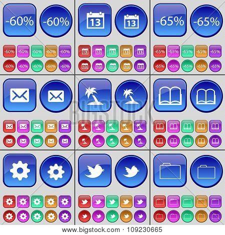 Discount, Calendar, Discount, Message, Palm, Book, Gear, Bird, Folder. A Large Set Of Multi-