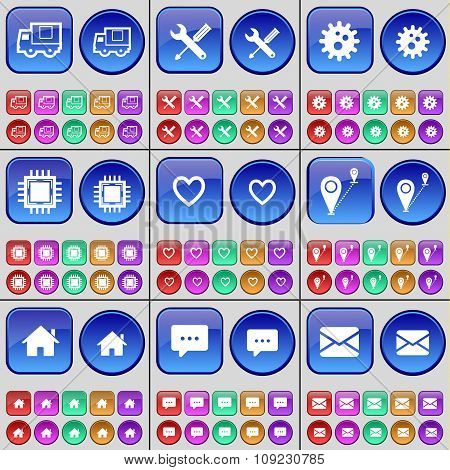 Truck, Wrench, Gear, Processor, Heart, Route, House, Chat Bubble, Message. A Large Set Of Multi-
