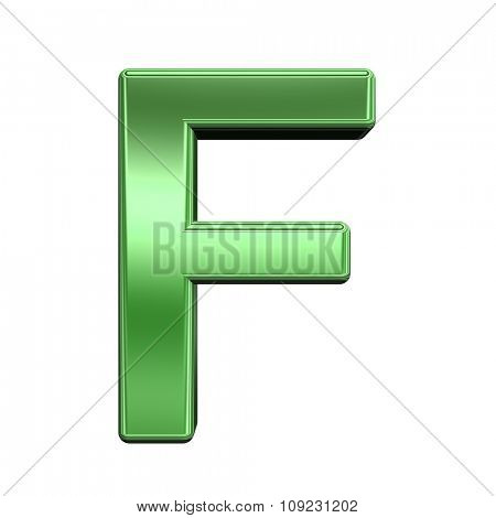 One letter from shiny green alphabet set, isolated on white. Computer generated 3D photo rendering.
