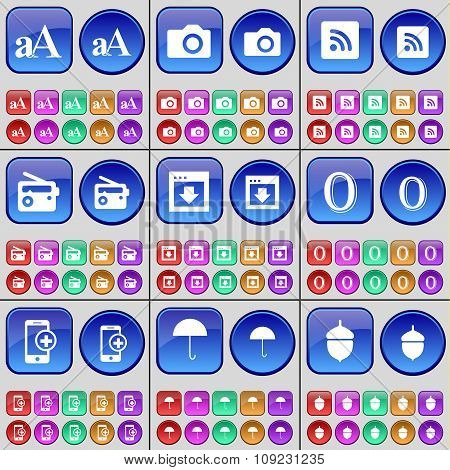 Font, Camera, Rss, Radio, Window, Zero, Smartphone, Umbrella, Acorn. A Large Set Of Multi-colored