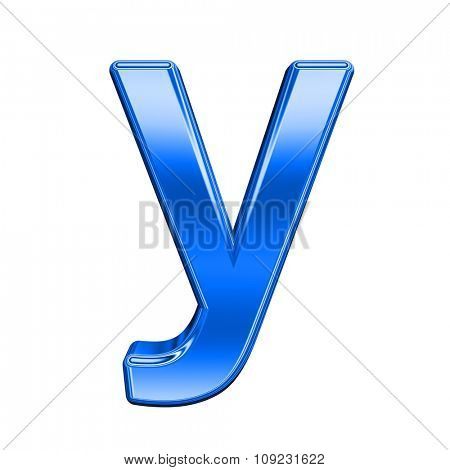 One lower case letter from shiny blue alphabet set, isolated on white. Computer generated 3D photo rendering.