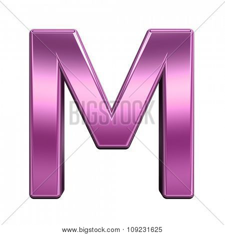 One letter from shiny pink alphabet set, isolated on white. Computer generated 3D photo rendering.