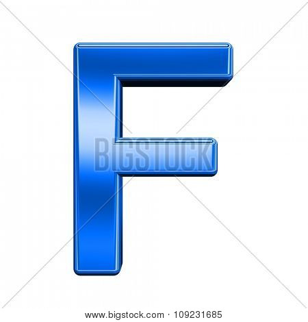 One letter from shiny blue alphabet set, isolated on white. Computer generated 3D photo rendering.