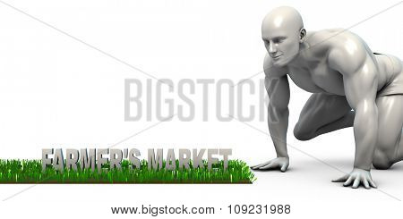 Farmers Market Concept with Man Looking Closely to Verify
