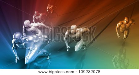 Active Lifestyle Abstract Concept with People Running Activity