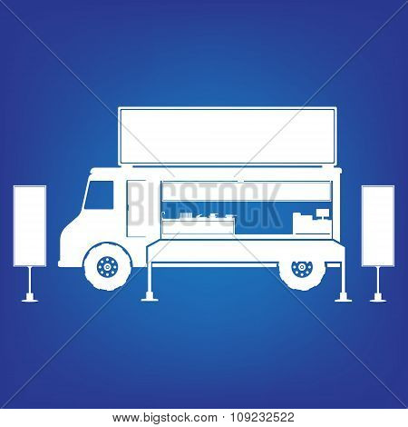Food Truck In White Color On Blue Background. Flat Design Vector Illustration.