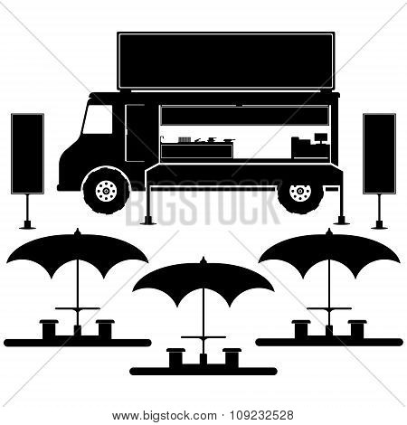 Food Truck With Umbrella, Desk, Chairs And Menu Board In Black Color. Flat Design Vector Illustratio
